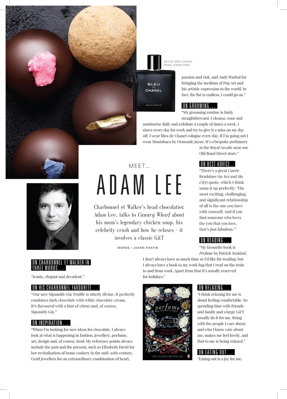 Adam Lee in Canary Wharf Magazine